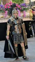 Costumed participant playing the part of a Roman Centurion