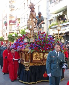 "A ""trono"" or throne (float) from one of the parishes."