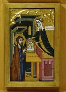 St Luke receives the vera effigy from the Virgin.
