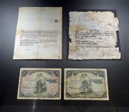 Banknote from 1761 (top left) Banknote from 1832 (top right) Banknotes from 1906 (bottom)