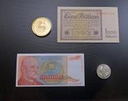 One Billion Mark Bill and a 500 Billion Dinara Bill