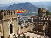 The battlements above the main gates to Xàtiva Castle which consists of two parts – Castillo Menor and Castillo Mayor
