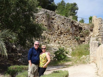Julia and Ted enjoying the main courtyard and ancient walls