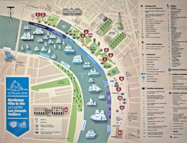 Map of the Bordeaux Fête le Vin and Tall Ships Regatta 2018