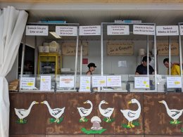 One of many food booths. This one offers sandwich Foie Gras and sandwich Rillettes de Canard and more.
