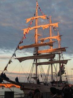 Sunset on the sails of the Tarangini
