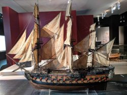 Model of the ship the Conqueror, around 1770