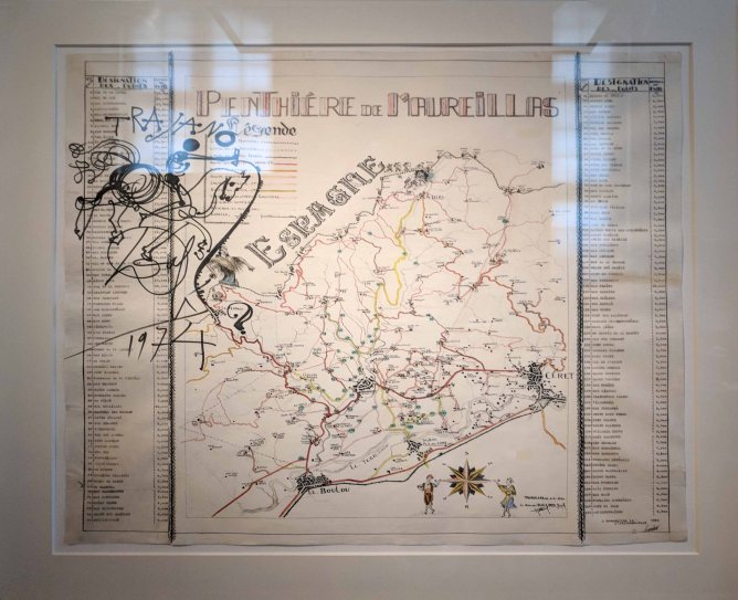 Drawing by Salvador Dali on a map