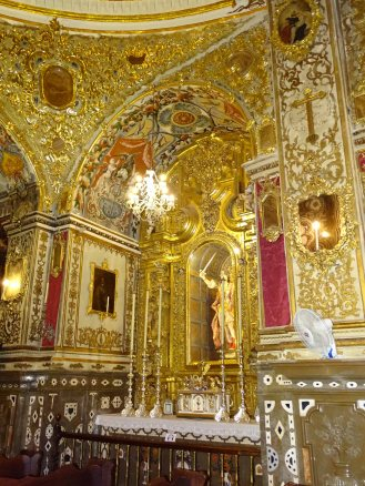 A detailed view of the Chapel of San Miguel