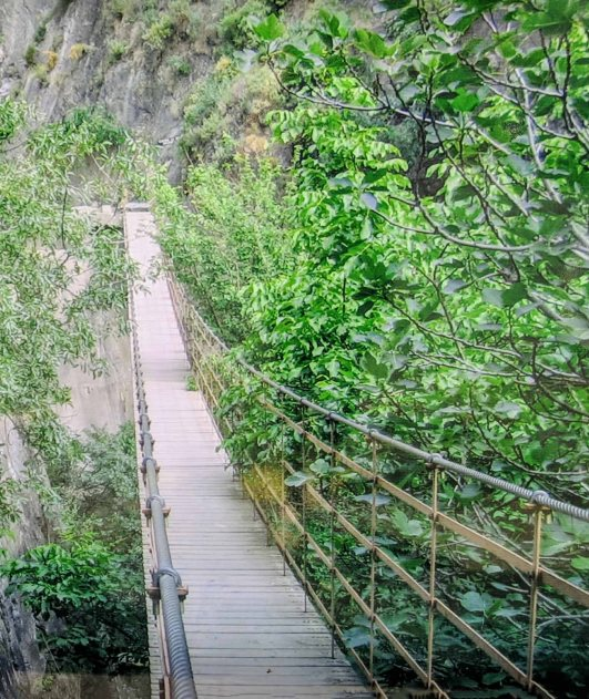 The first of four hanging bridges