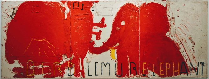 Red Painting Bird, Lemur & Elephant