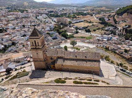 """A view from the castle looking over top of the Iglesia de """"Santa María la Mayor"""""""