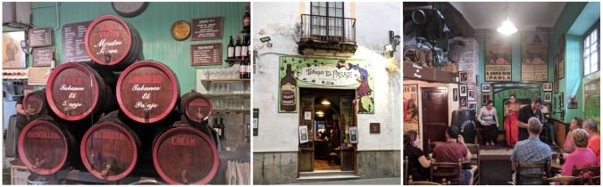 Casks of sherry at the Tabanco El Pasaje. We arrived just as they were starting a flamenco show.