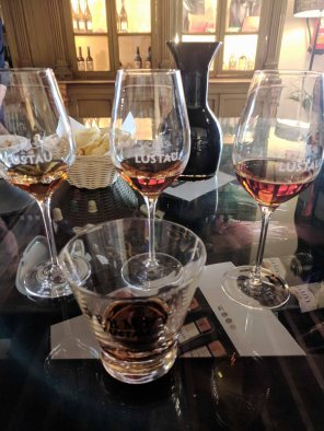 Wine tasting as part of the tour at Bodegas Lustau. The glass in the foreground is a brandy.