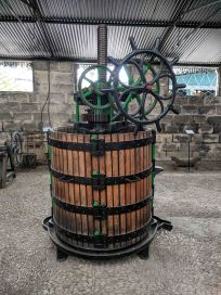 An antique wine press at Bodegas Gonzalez-Byass