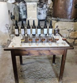 A table set up to allow visitors to smell (not drink) the different types of sherry available at Bodegas Gonzalez-Byass