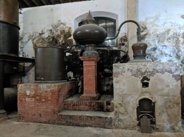 An antique Lepanto brandy still imported from France used to distill alcoholic spirits to be added to the sherry to create a fortified wine.
