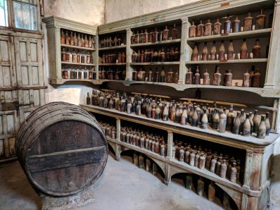 The 'original' workshop of Manuel Maria González full of antique bottles.
