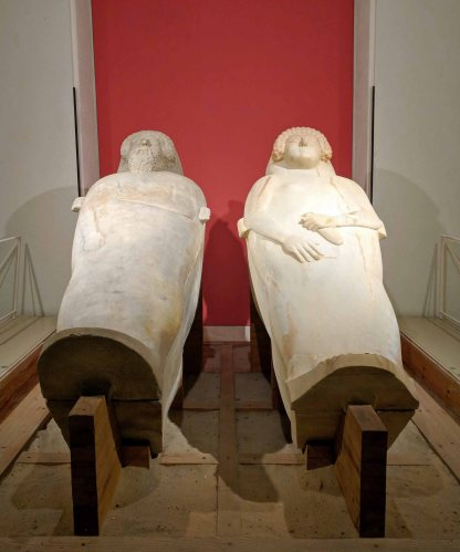 White marble Phoenician sarcophagi dating back to 470-400 BCE