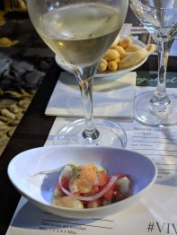 A lovely Ceviche with a glass of sherry