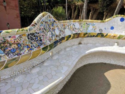 Detail of the beautiful mosaics on the benches at Park Güell