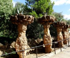 Curious structures line the pathway - Park Güell