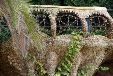 A railing along an upper patio