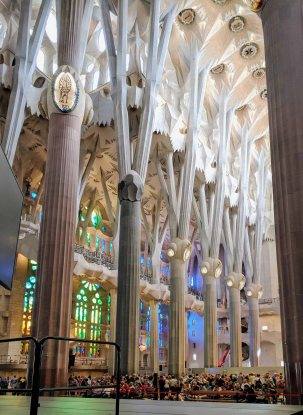 The arborescent columns influence the idea of Gaudí that the interior of the temple should be like a forest that invited one to prayer