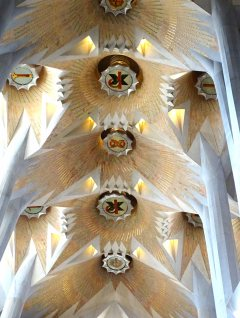 Light wells in the ceiling to flood the church with natural light.