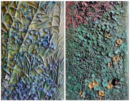 """A collage of two of the four doors of the """"Façade of the Nativity of the Sagrada Familia""""."""