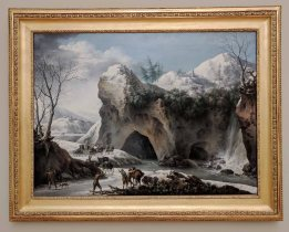 """""""Paysage montagneux sous la neige avec diligence"""" [Mountainous landscape under the snow with diligence] Acquired in 1807 by Francesco Foschi (1805)"""